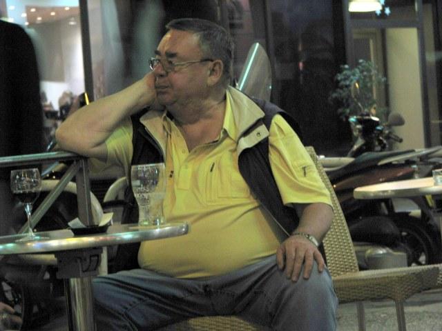 The gentleman is dejected that his beer is over.